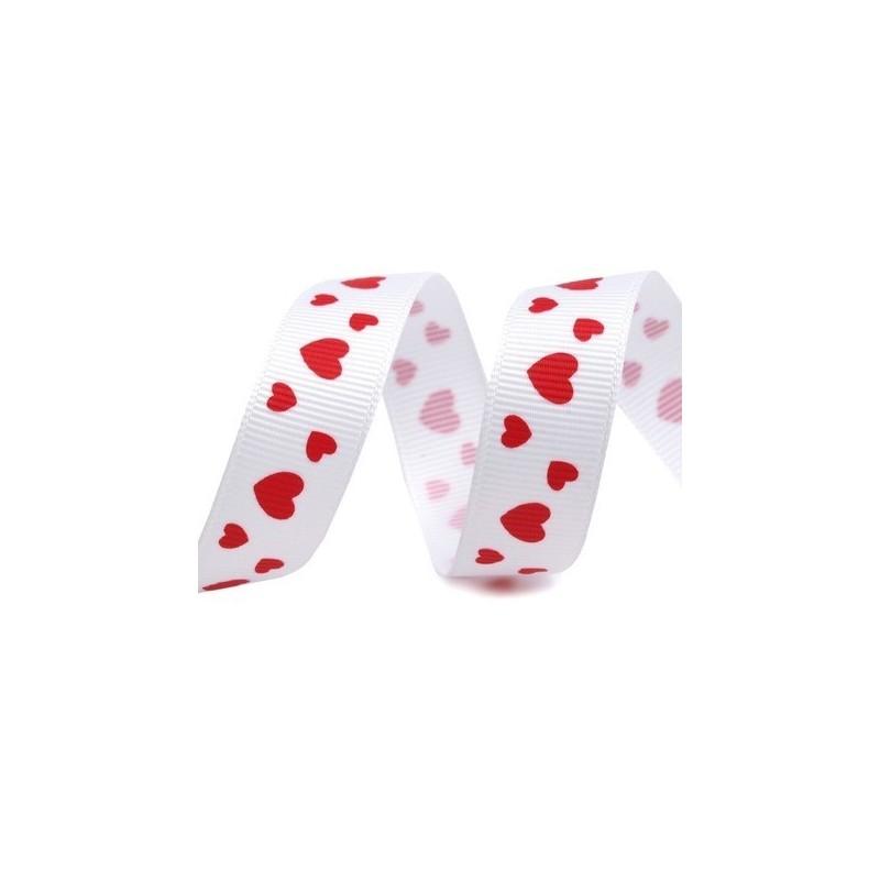 Grosgrain blanc coeurs rouges largeur 15 mm