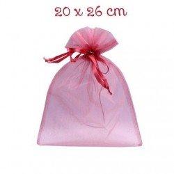 1 sachet organza rose cyclamen 20 x 26 cm emballage