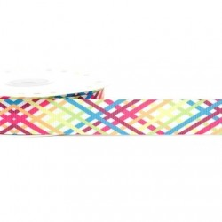 Ruban 22 mm polyester motif rayures multicolore