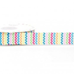 Ruban 22 mm polyester zig zag multicolore