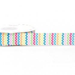 Ruban 22 mm polyester zig zag multicolore