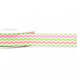 Ruban 22 mm polyester zig zag rose blanc vert