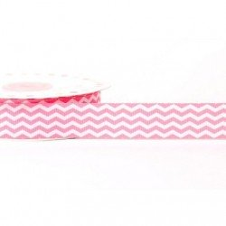 Ruban 22 mm polyester zig zag rose blanc