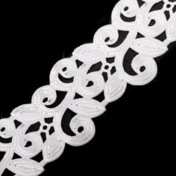 Ruban satin blanc 22 mm ciselé volutes arabesques