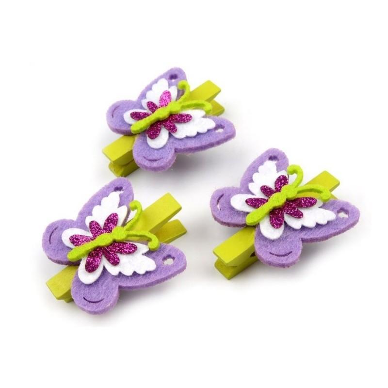 3 mini pinces à linge papillon violet