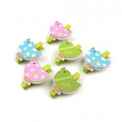 6 mini pinces à linge petits oiseaux colorés