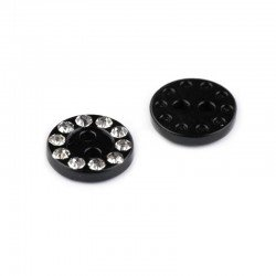 Set de 6 boutons plastique noir 13 mm strass