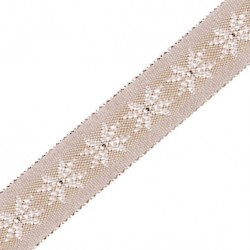 Ruban jacquard tissé taupe et ivoire 15 mm