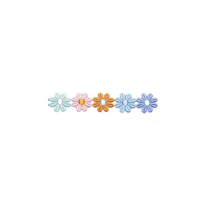 Galon guipure dentelle fleurs multicolores