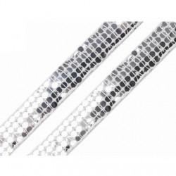 Galon de sequins argent 13 mm  brillant comme des paillettes