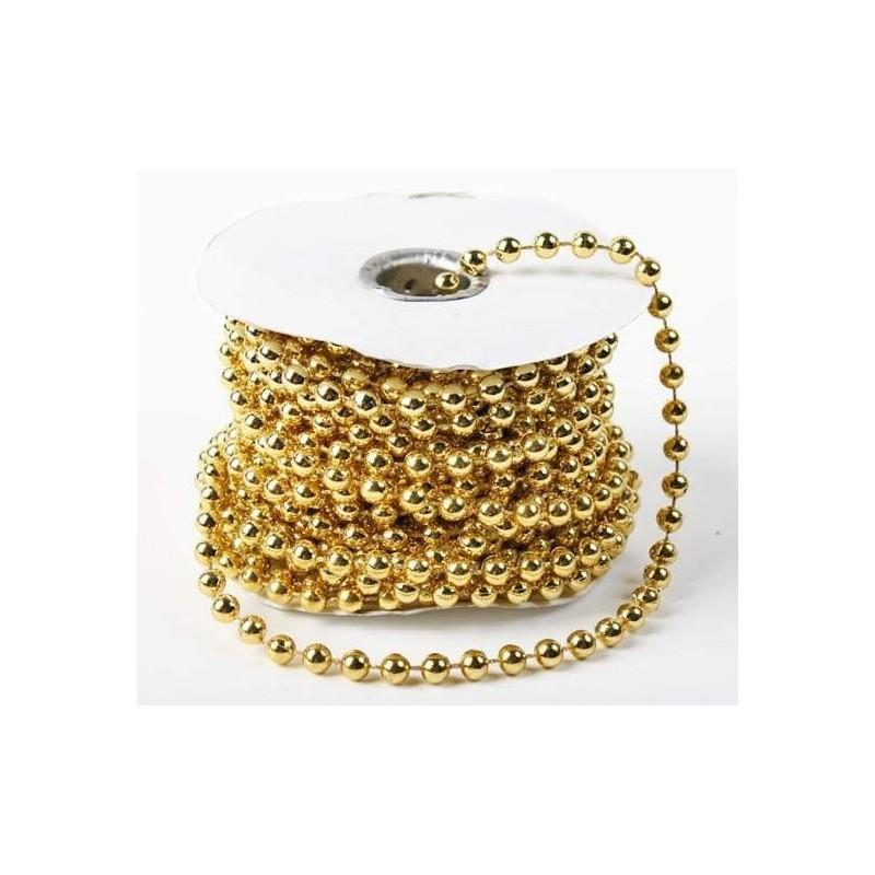 3 mètres de fil de perles 3 mm sur fil - or