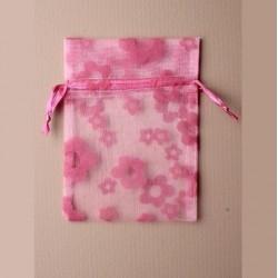 5 Sachets organza 15 x 11 cm fleurs rose emballage