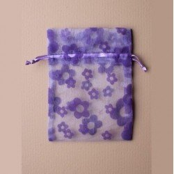 5 Sachets organza 15 x 11 cm fleurs mauve emballage