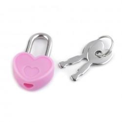 Petit cadenas coeur rose avec clés
