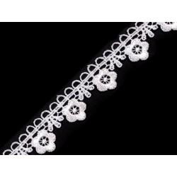 Galon de guipure petites fleurs blanc dentelle point de venise 21 mm