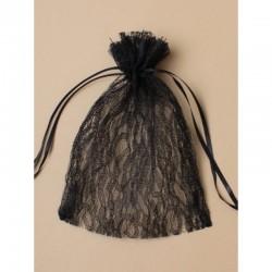 3 sacs pochons 22 cm en dentelle noire