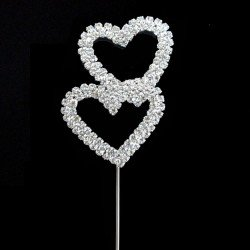 Decoration gateau cristal double coeur