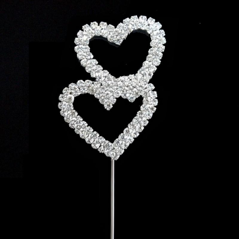 Decoration gateau cristal double coeur