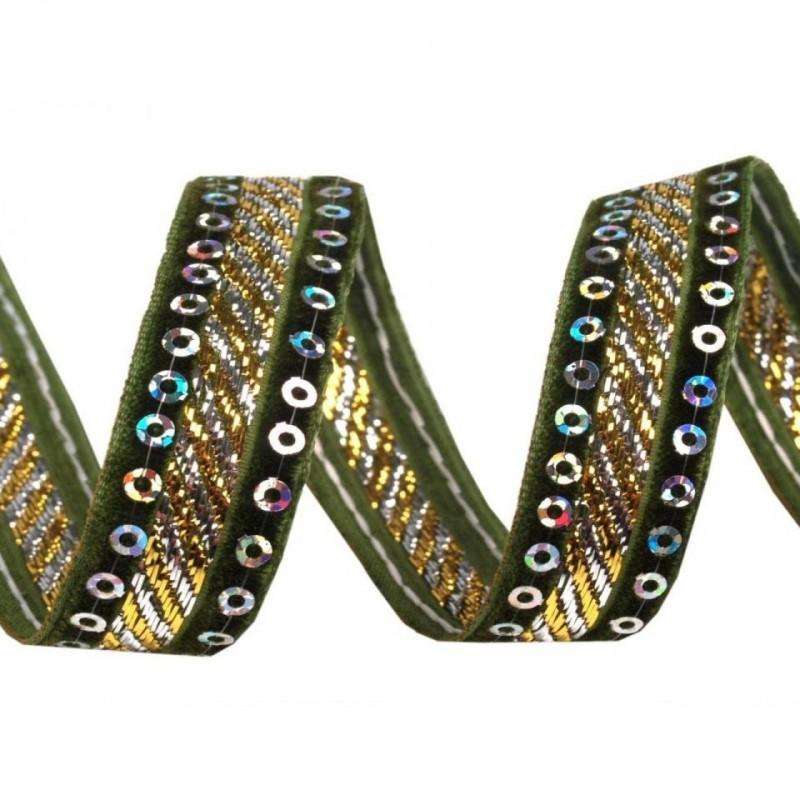 Ruban velours et sequins 15 mm vert