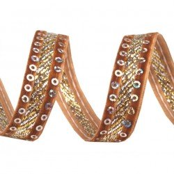 Ruban velours et sequins 15 mm marron