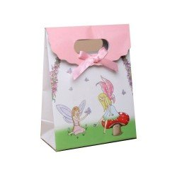 3 sacs cadeau 13 cm carton noeud satin rose