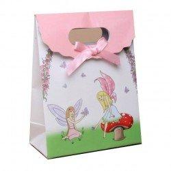 3 sacs cadeau 16 cm carton noeud satin rose