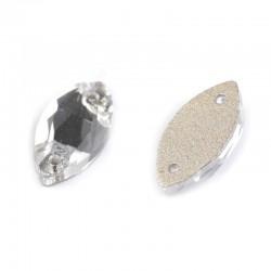 20 cristaux ovales transparents à coudre