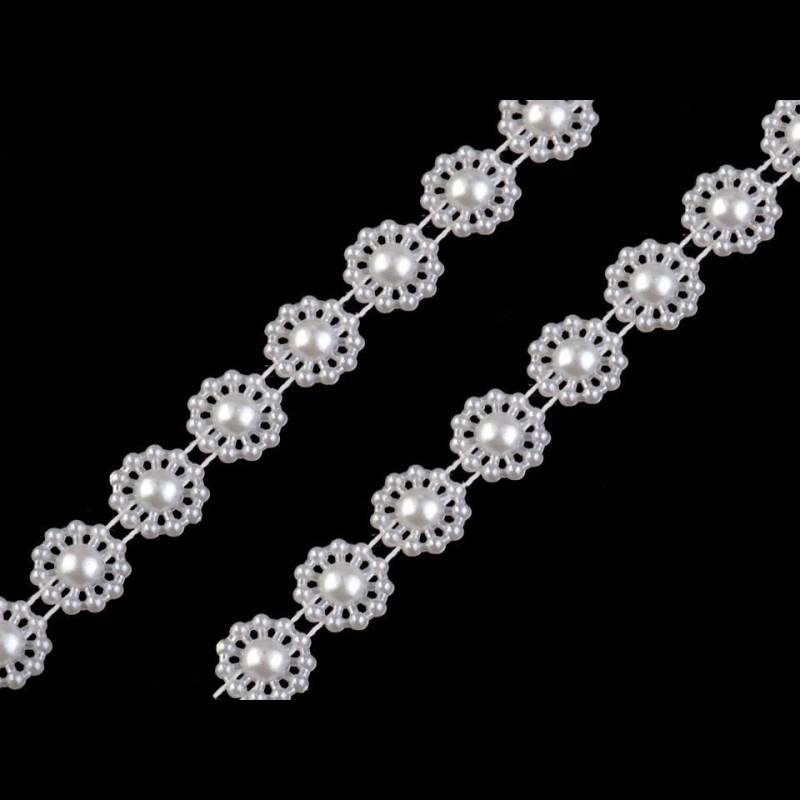 3 M galon demi perles blanc nacré