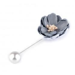 Broche épingle perle et fleur gris vert