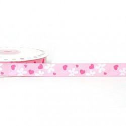 Ruban 16 mm polyester fleur rose et blanc