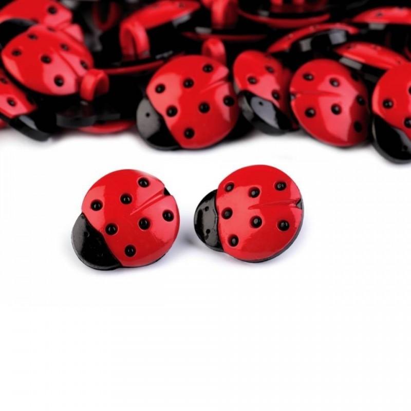 6 boutons coccinelle rouge et noir