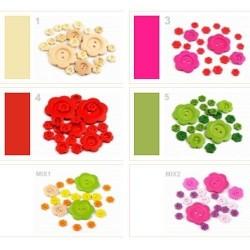 20 boutons bois rose mélangés