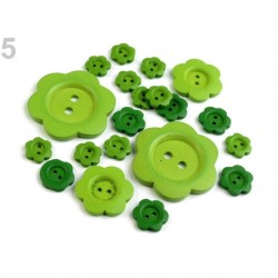 20 boutons bois vert mélangés