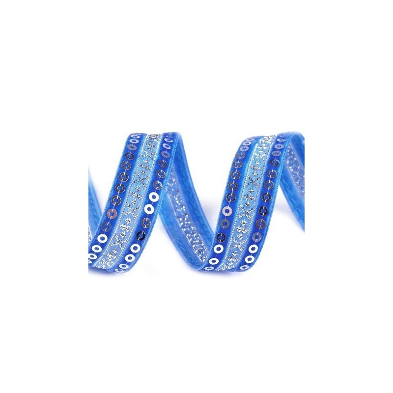 Ruban velours et satin bleu brode de sequins argent 15 mm