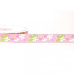 Ruban 16 mm polyester fleur rose et vert anis