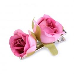 Roses en tissu rose fushia sur pince crabe