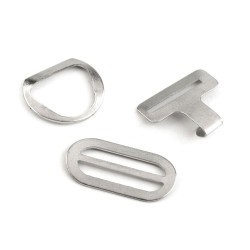 4 boucles sangle metal argent 9 mm