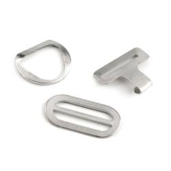 4 boucles sangle metal argent 9 mm