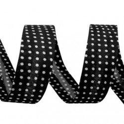 Biais 20 mm noir a pois blanc 100 % polyester