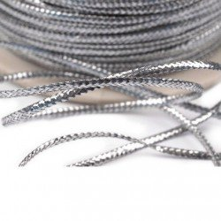 3 m cordon fin de lurex argent 1 mm non elastique