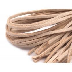 4 Cordon de suède effet cuir daim beige 1 m x 3 mm