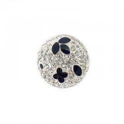 Bouton noir et strass diamant 18 mm