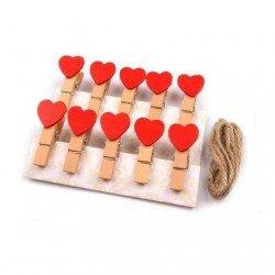 10 mini pinces a linge coeur rouge + corde 1 m