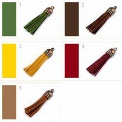 Pompon cuir rouge bordeaux et bronze 48 mm