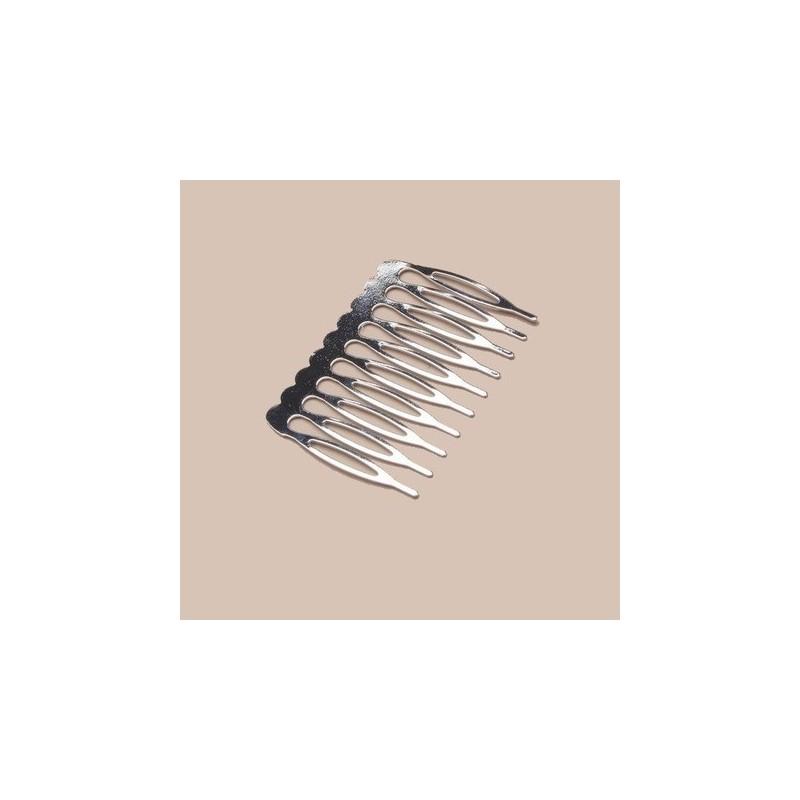 Peigne en metal argent 5 cm pour creation d'accessoires de coiffure