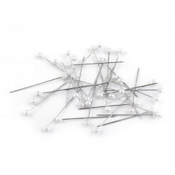 100 épingles 38 mm tete perle nacre