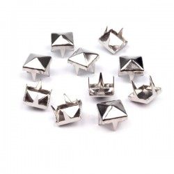 50 rivets crampons pyramide metal argent 7 mm
