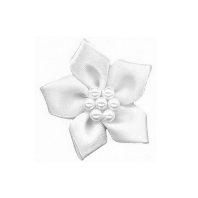 1 fleur poinsettia satin et perles blanc