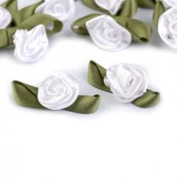 10 petites roses en satin 15x30 mm