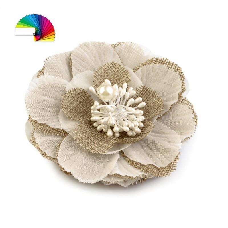 Fleur cheveux ou broche tissu ivoire et perle